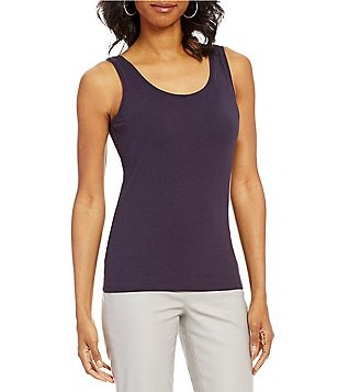 ZOZO Scoop Neck Solid Stretch Jersey Knit Tank Top