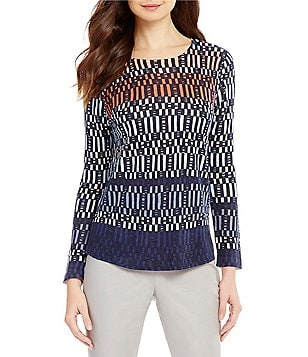 ZOZO Cuba Libra Scoop Neck 3/4 Sleeve Printed Top