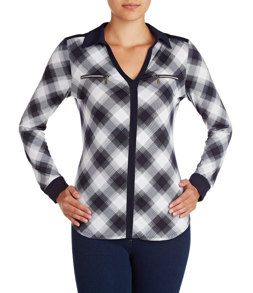 Peter Nygard V-neck Plaid Shirt
