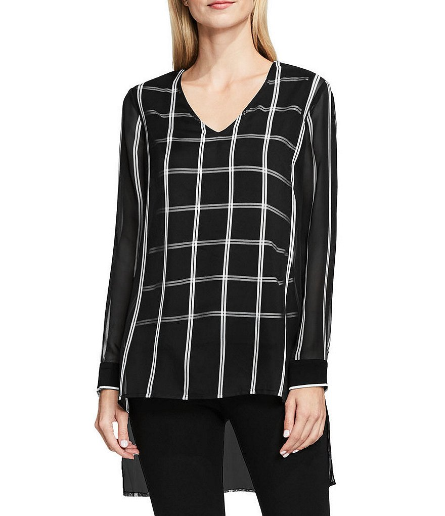 Vince Camuto Long Sleeve V-Neck Stripe Duet Blouse with Knit Underlay