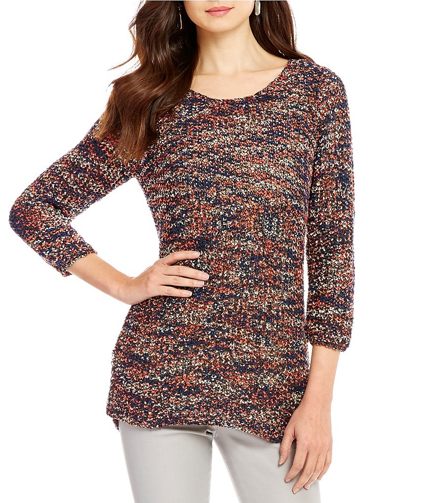 ZOZO Rhythm Scoop Neck 3/4 Sleeve Tape Yarn Sweater