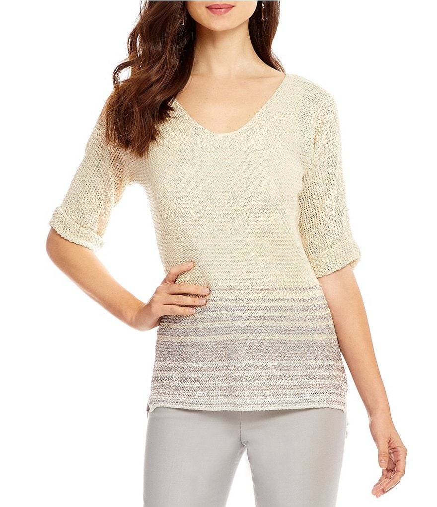 ZOZO Subtle Stripes Elbow Sleeve Knit Top