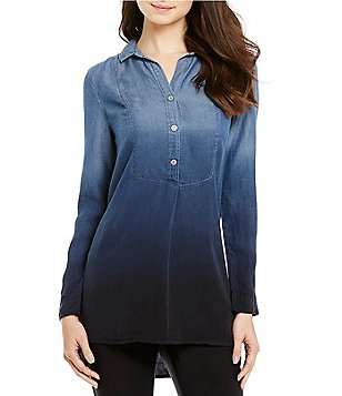 ZOZO Point Collar Long Sleeve Button Down Ombre Denim Top