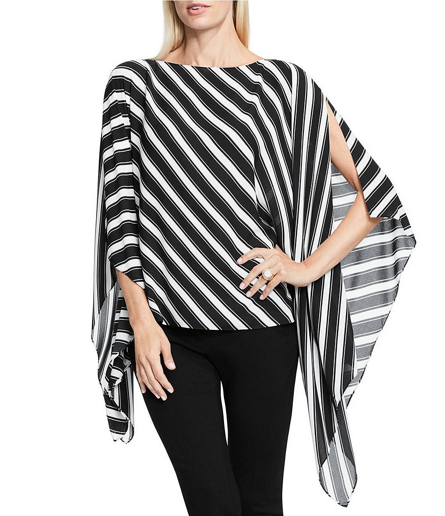 Vince Camuto Diagonal Stripe Slit Bell Sleeve Poncho