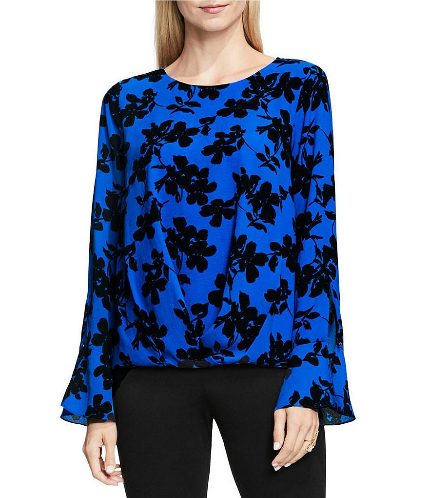 Vince Camuto Long Sleeve Small Fresco Blooms Fold Over Blouse