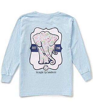 Itsa Girl Thing Big Girls 7-16 Long Sleeve Paisley Elephant Tee