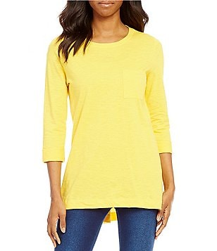 Westbound Crew Neck 3/4 Sleeve Single Pocket Solid Tunic