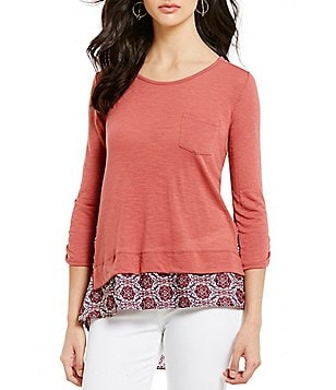 Jolt Knit Jersey Medallion-Print Georgette 3/4-Sleeve High-Low Top