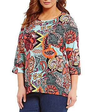 Westbound Plus 3/4 Sleeve Single Pocket Printed Tunic