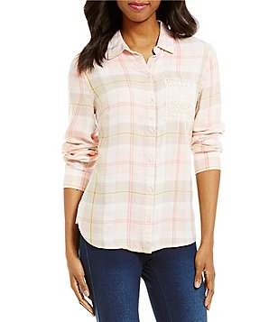 Westbound One Pocket Hi-Low Long Sleeve Button-Front Plaid Shirt