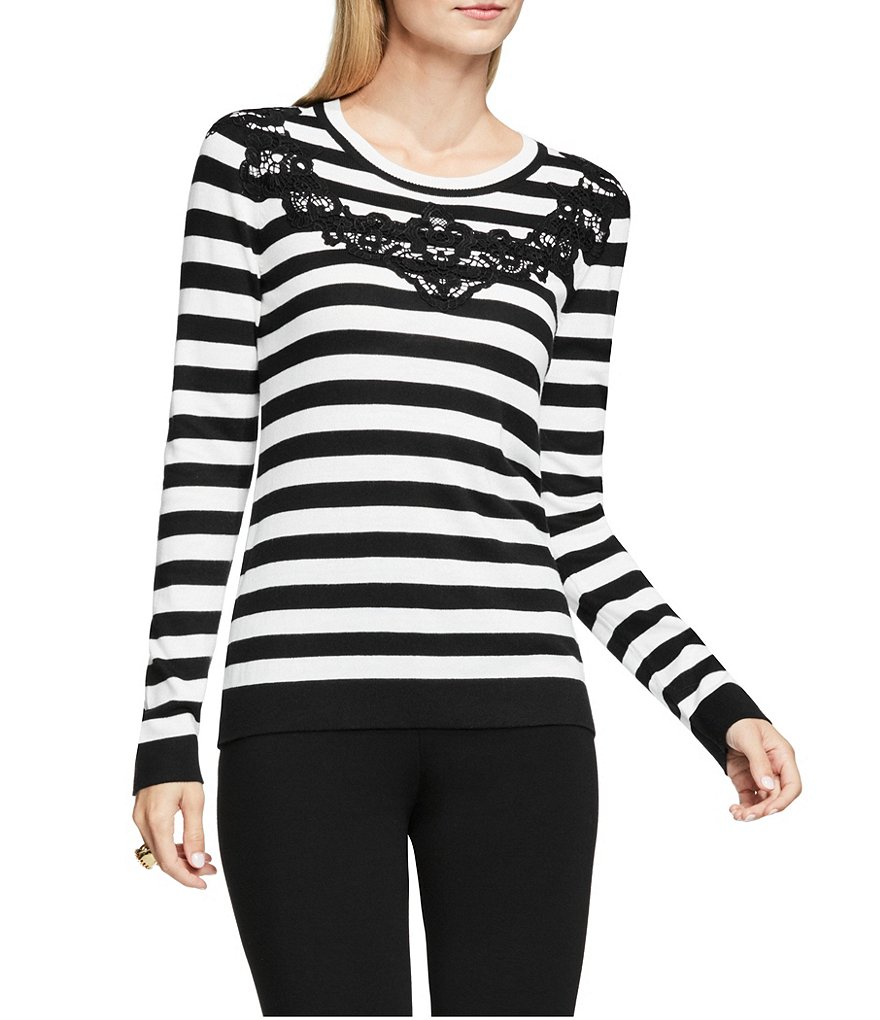Vince Camuto Long Sleeve Striped Lace Applique Sweater