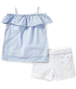 Nautica Little Girls 2T-6X Nautical Striped Cold-Shoulder Top and Shorts Set