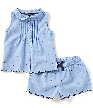 Nautica Little Girls 2T-6X Sailboat Printed Peter-Pan Collared Top & Shorts Set