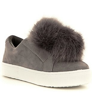 Sam Edelman Leya Faux-Fur Pom Pom Suede Slip-On Sneakers