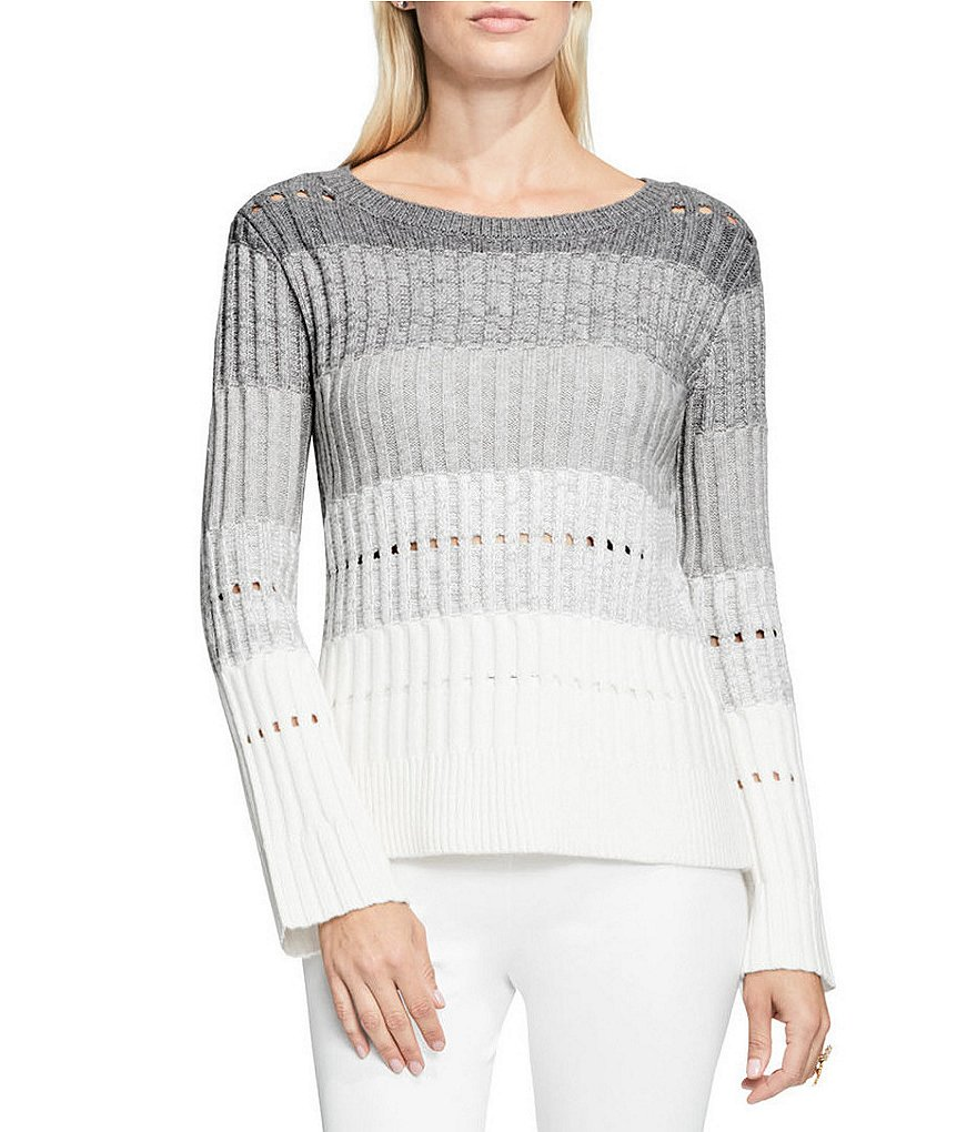 Vince Camuto Long Bell Sleeve Stripe Cut-Out Pointelle Sweater