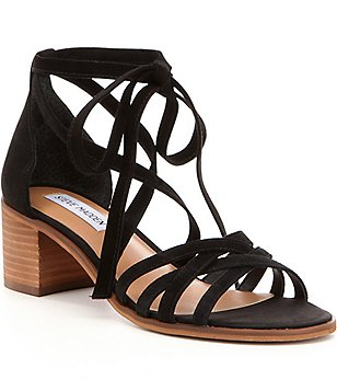Steve Madden Revere Suede Lace Up Ankle Tie Block Heel Sandals
