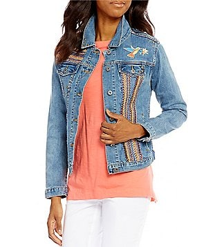Westbound Petites Novelty Point Collar Button Front Denim Jacket