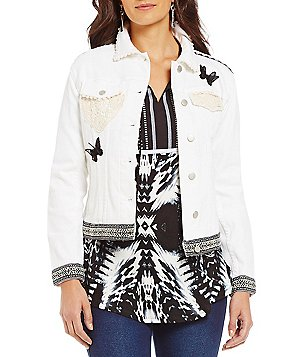 Westbound Petites Novelty Button front Denim Jacket