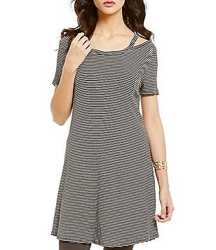 Blu Pepper Cold Shoulder Striped Knit Tunic