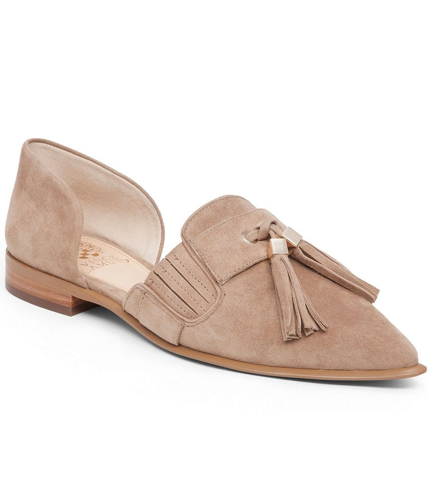 Vince Camuto Hollina Suede Tassel d´ Orsay Pointed-Toe Slip-On Flats