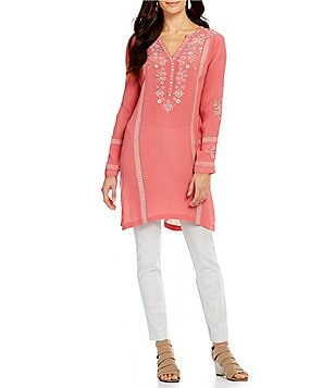 Sigrid Olsen Crepe Long Embroidered Tunic