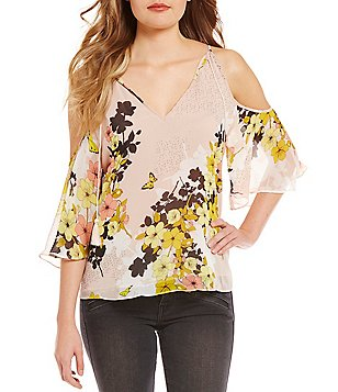 Guess Val Floral Printed Cold Shoulder Top