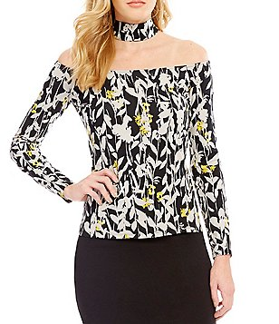 Guess Jytte Off-The-Shoulder Floral Choker Neck Top