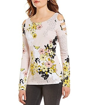 Guess Yoshi Floral Print Long-Sleeve Cold Shoulder Cut-Out Knit Top