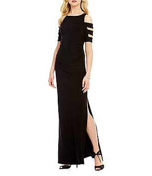 Laundry by Shelli Segal Embellished Cut-Out Short Sleeve Matte Jersey Gown