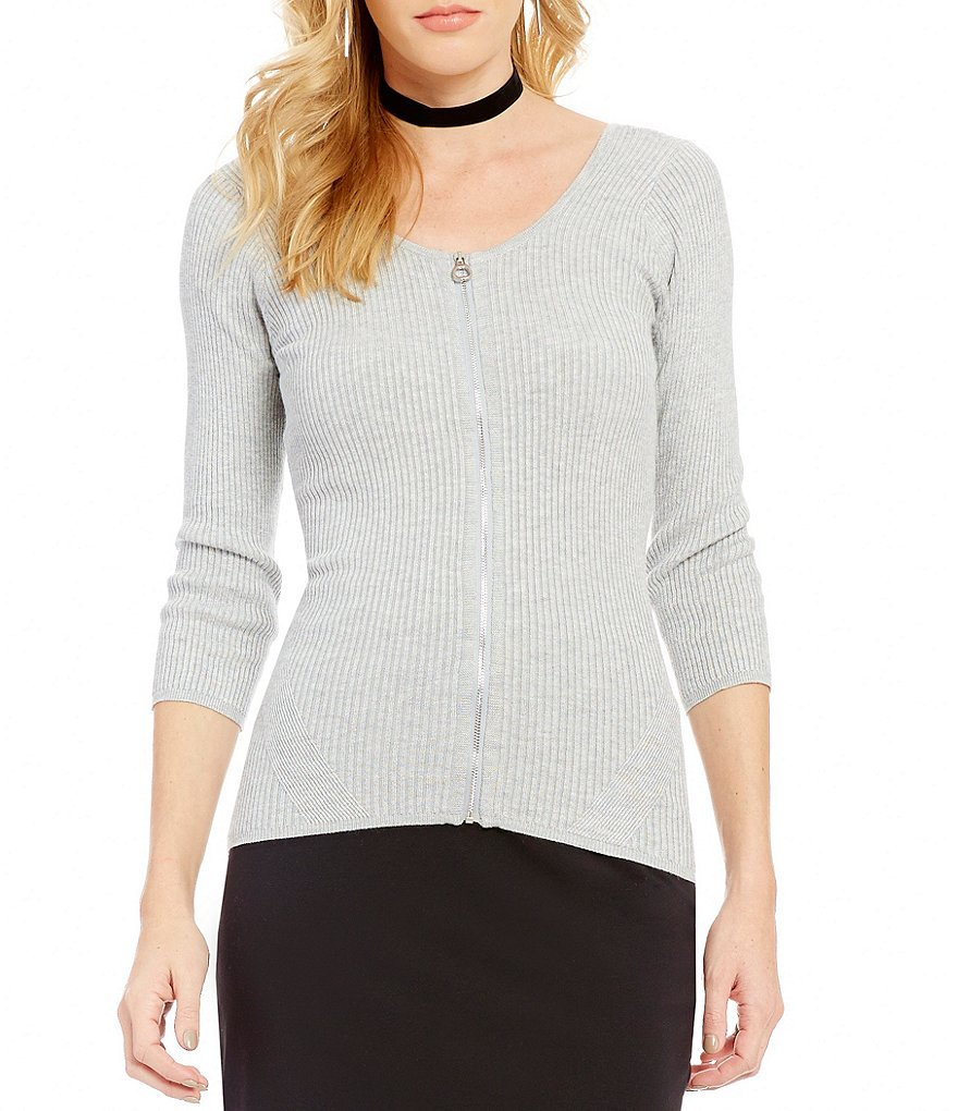 Guess Holly Zip-Front Scoop Neck 3/4-Sleeve Sweater