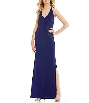 Laundry by Shelli Segal Halter-Neck Sleeveless Beaded Matte Jersey Gown