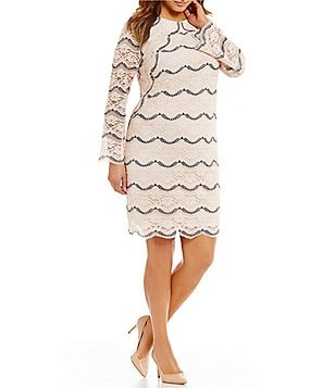 London Times Plus Round Neck Long Sleeve Scalloped Lace Shift Dress