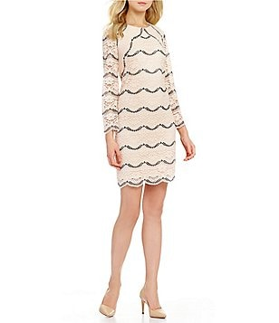 London Times Scalloped Lace Shift Dress