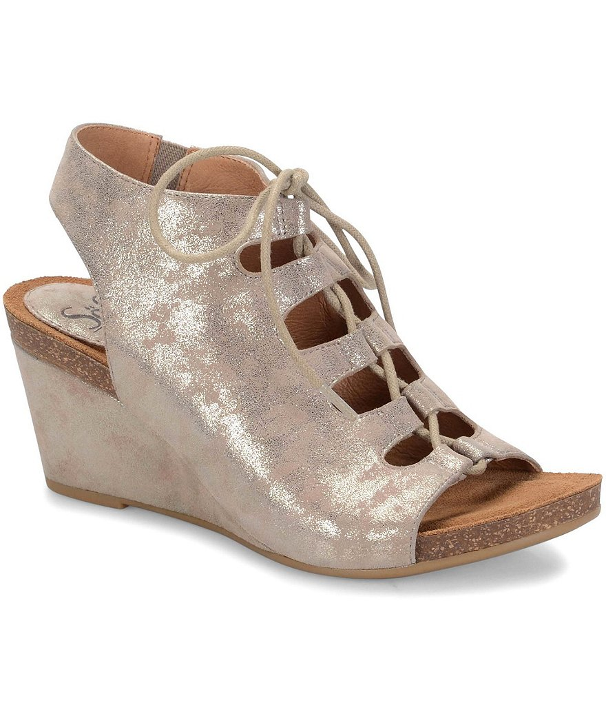 Sofft Maize Distressed Metallic Suede Front Lace-Up Wedges