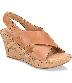 Born Henning Leather Criss Cross Slingback Cork Wedge Sandals