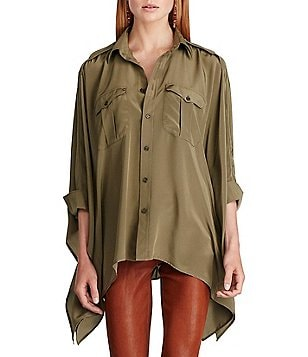 Polo Ralph Lauren Silk Button-Front Chest Patch Pockets Poncho Shirt