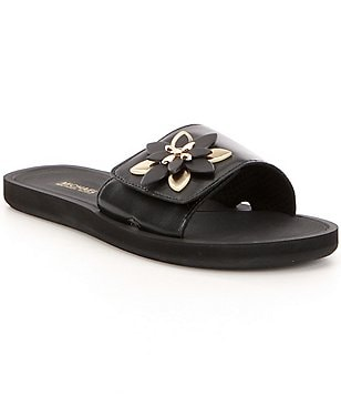 MICHAEL Michael Kors Heidi Leather Floral Ornament Slide Sandals