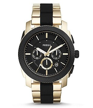 Fossil Machine Chronograph Silicone & Stainless Steel Bracelet Watch