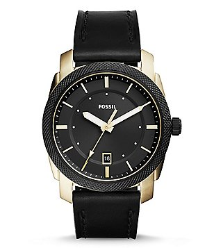 Fossil Machine Three-Hand Date Leather-Strap Watch