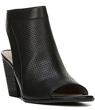 Naturalizer Yanni Perforated Leather Peep-Toe Block Heel Booties
