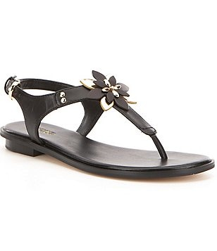 MICHAEL Michael Kors Heidi Vachetta Leather Floral Ornament Thong Sandals