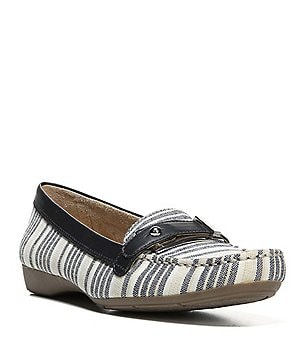 Naturalizer Gisella Denim Stripe Fabric Buckle & Strap Detail Slip-On Moccasins