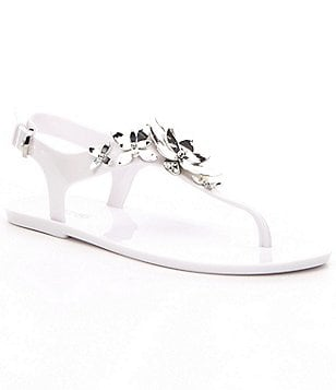 MICHAEL Michael Kors Lola Metallic Floral Ornament Jelly Sandals