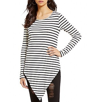 GB Striped Knit Scarf Hem Tunic