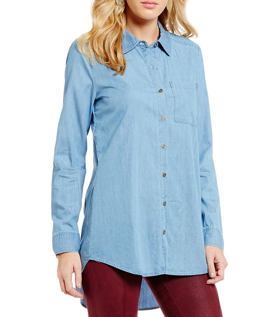 GB Chambray Smocked Open Back Button Down Top