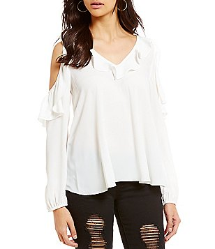 GB Cold Shoulder Long-Sleeve V-Neck Ruffle Top