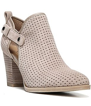 Franco Sarto Dakota Side Cutout Perforated Suede Booties