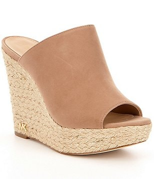 MICHAEL Michael Kors Hastings Leather Peep-Toe Espadrille Wedge Mules