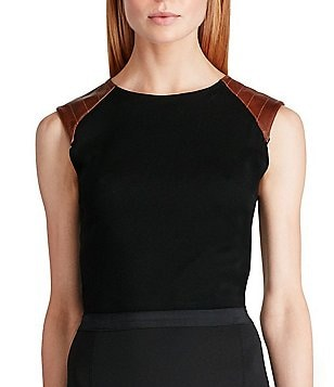 Polo Ralph Lauren Leather-Trim Cotton Sleeveless Top
