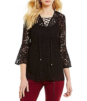 Alex Marie Stacey V-Neck Floral Bell Sleeve Lace-Up Blouse